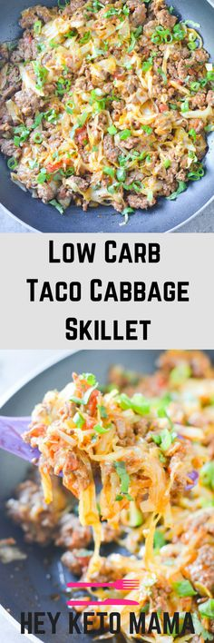 This Low Carb Taco Cabbage Skillet is an easy keto dinner with amazing taco flavor. The perfect one-pan meal for when you're low on time!   heyketomama.com via @heyketomama