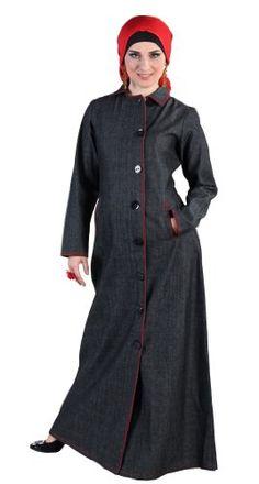 Shiza Abaya, Black, The English Coat style with the fold down collar (or high neck).100% Denim at http://suliaszone.com/shiza-abaya-black-large/