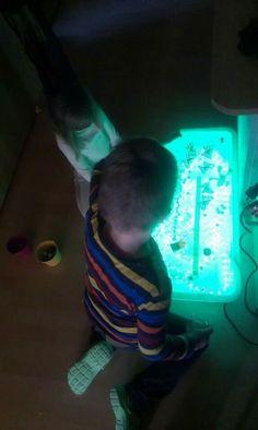 Lichtkasten aus durchsichtigem Plastikbehälter und Lichtschlange