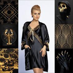 VERBENA #poland #underwear #lingerie #nightwear #sleep #black #gold #pattern #bathrobe #verbena