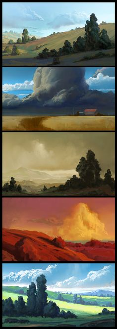 Multiple, simple environments--resembles speed painting. I appreciate the prominence in the brush strokes, it emphasizes that painterly quality. The value scale is subtle but nice, and the transition between the values is blended successfully.