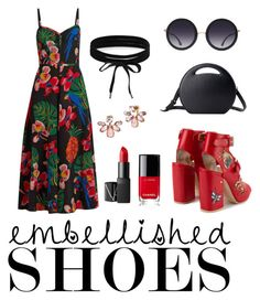 """""""Embellished Shoes"""" by shopluzzo on Polyvore featuring Carelle, Laurence Dacade, Valentino, Alice + Olivia, Marchesa, NARS Cosmetics, Chanel, Boohoo, Heels and RedShoes"""