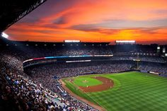 This stunning sunset served as a dramatic backdrop at Turner Field. (Photo by Daniel Shirey/Atlanta Braves) I MISS THIS PLACE! Go Braves! Baseball Park, Braves Baseball, Softball, Oh The Places You'll Go, Great Places, Atlanta Braves Stadium, Braves Game, Turner Field, Fantasy Baseball