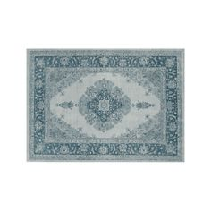 Ruggable® Washable Parisa Framed Floral 2-pc. Indoor Outdoor Rug System, Blue