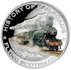 "History of Railroads ""Flying Scotsman"" Silver Coin Flying Scotsman, Thing 1, Coins For Sale, Coin Collecting, Silver Coins, Locomotive, Weird, Canada, Liberia"