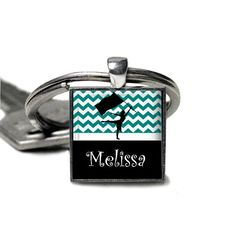 Personalized Teal Square Pendant Colorguard keychain--15 Colors colorguard gift high school grandma band gift idea colorguard gift