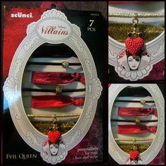 Scunci DISNEY VILLAINS Evil Queen Snow White Ponytailers / Bracelet Set Rare NIB #Scunci