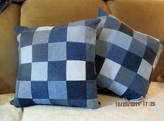 blue jean pillows - these are so easy to make!!