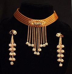 Gilt Brass Mesh Fringed Choker Necklace Earrings by Laeclectica, $385.00