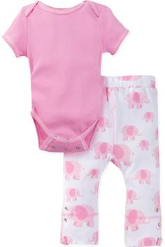 MiracleWear Posheez Snap 'n Grow Elephant Short Sleeve Bodysuit and Pants n Pink\#babygirl, #buybuybaby, #promotion