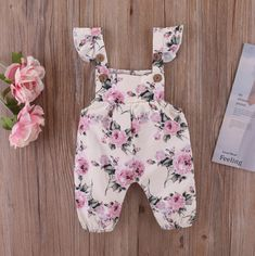 floral sleeveless romper for baby girlA cute floral romper that features a beautiful flower design.Boy Fashion Style Dress Up Cute Baby Girl Outfits, Baby Girl Romper, Baby Girl Dresses, My Baby Girl, Baby Dress, Baby Onesie, Little Girl Fashion, Toddler Fashion, Kids Fashion
