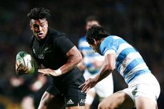 Julian Savea of New Zealand looks to fend against Matias Moroni of Argentina during the Rugby Championship match between the New Zealand All Blacks and Argentina at Waikato Stadium on September 10, 2016 in Hamilton, New Zealand.