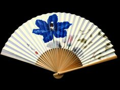Japanese Hand Fan - Sensu - Vintage Folding Fan - Japanese Paper Fan - Flowers F204 Paper Bamboo Purple Dark Pink Light Green Gray