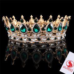 New Emerald Rhinestone Full Crown Crystal Fashion Jewelry Gold Plated Headbands  #Crown