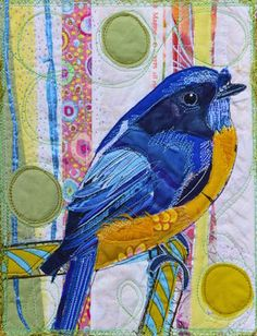 Blue Bird by Karin Winter. Love everything about this - the reverse applique, the patterned, contrasting fabric, the circles. And of course the bird, just lovely. Bird Applique, Applique Quilts, Embroidery Applique, Fabric Birds, Fabric Art, Fabric Crafts, Reverse Applique, Fabric Postcards, Bird Quilt