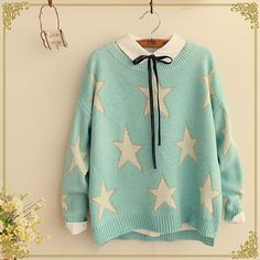 Japanese star knitting sweater