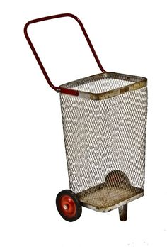 c. 1940's Vintage industrial reinforced steel mesh shopping cart or caddy with collapsible handle