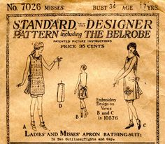 Unsung Sewing Patterns: Standard Designer - Ladies' and Misses' Apron Bathing-Suit