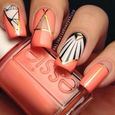 Gorgeous & creative, this delicious peach nail art by All Nails Everything was created with Essie: 'Tart Deco' nail polish, abstract nail wraps from GoScratchIt, and some gold striping tape. Such a fun, unique geometric manicure!