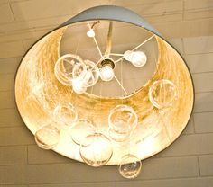 Pudel-design: DIY bubble chandelier from IKEA Lampshade!  Check out her twine covered cord,  this is my fix!