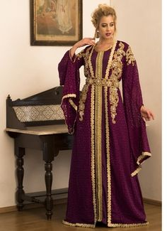 Violet Jacket Style Moroccan Wedding Caftan - Kolkozy Fashion Private Limited - 2480281