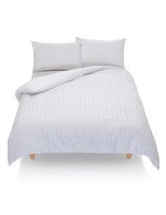 Wide Stripe Seersucker Bedding Set   M&S