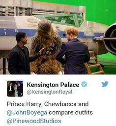 Prince Harry, Chewbacca and John Boyega compare outfits while Harry toured the Star Wars movie set, 19 April 2016 John Boyega, Chewbacca, Prince Harry, Star Wars, Entertaining, Princess Diana, Memes, Royals, Movie