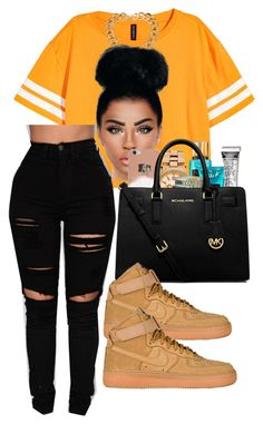 """"" by kraveechayechaye ❤ liked on Polyvore featuring Versace, Boohoo, Victoria's Secret, MICHAEL Michael Kors and NIKE"