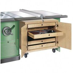 Savvy storage within easy reach. Extension tables for tablesaws make woodworking easier, but they sure eat up a lot of precious floor space. Build this handsome roll-away cabinet to help you put that valuable real estate to good use. Stores blades, jigs, and accessories. Measures approximately 22in.tall.This plan was proven in the WOOD magazine shop by its editors and master craftsmen.MATERIALS NOT INCLUDED; PAPER PLAN ONLY. #FineWoodworkingCabinet