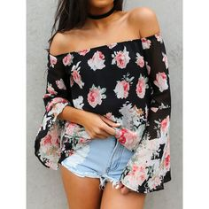 Floral Off Shoulder Flare Sleeve Chiffon Blouse (€28) ❤ liked on Polyvore featuring tops, blouses, off shoulder chiffon top, flower print blouse, chiffon blouse, off the shoulder tops and chiffon top
