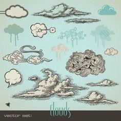zentangle clouds vector | Doodles