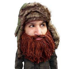 08be80aa611 Beard Head - The Original Barbarian Trapper Knit Beard Hat (Brown)