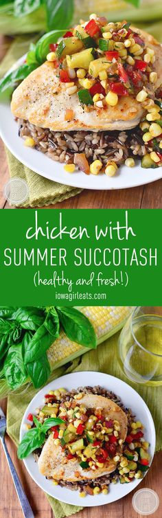 Chicken with Summer Succotash is fresh, healthy, and fast. Enjoy this light and tasty side dish all summer long! #glutenfree | iowagirleats.com