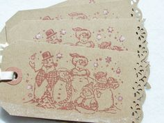 Snowman Christmas Tag Barn Red Gift Tag Shipping by WitsEndDesign
