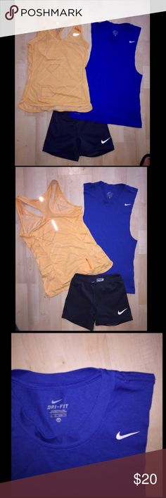 Nike Runner's Bundle Great way to switch up your workout gear! All sizes S or XS running gear by Nike. Orange tank is size S racer back, dri-fit with greys and purples in the print. Small zipped compartment for key or card. Blue is dri-fit XS with wide open sleeve holes and a jersey feel. Shorts are spandex runners in size S. excellent used condition each! Nike Tops Tank Tops