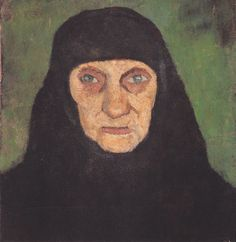 The Athenaeum - Head of an old woman with black scarf (1903) (Paula Modersohn-Becker - )