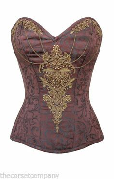 Brown Victorian Brocade Couture Steampunk Overbust Steel Boned Corset | eBay