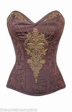 Brown Victorian Brocade Couture Steampunk Overbust Steel Boned Corset   eBay