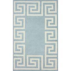 nuLOOM Hand-tufted Greek Key Border Blue Wool Rug (7'6 x 9'6) $400