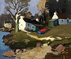 Exhibited: Donald McIntyre, Alan Lowndes & Peter Brook Exhibition, Portland Gallery, July no. Abstract Landscape, Landscape Paintings, Landscapes, Impressionist Paintings, Impressionism, Kyffin Williams, Local Painters, Building Painting, Cottage Art