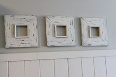 Set of 3-4x4 Weathered Distressed Wood Frames White Wash, ANY colors
