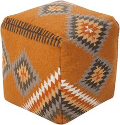 online shopping for Surya Beth Lacefield Wool Pouf, Burnt Orange/Olive/Taupe/Tan from top store. See new offer for Surya Beth Lacefield Wool Pouf, Burnt Orange/Olive/Taupe/Tan Pouf Ottoman, Ottoman Table, Fabric Ottoman, West Elm, Ikea, Square Pouf, Southwest Style, Modern Southwest Decor, Southwestern Decorating