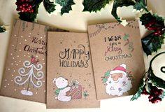 Unique Christmas cards 3 Set hand drawn di Cestinodimirtilli