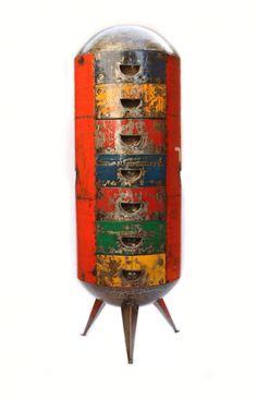 Africa is Tradition: Metal Cabinet by Hamed Quattara, Hamed Design Studio, Burkina Faso Steel Furniture, Solid Wood Furniture, Bar Furniture, Recycled Furniture, Furniture Design, Steampunk Furniture, Vintage Industrial Furniture, Industrial Style, Industrial Hardware