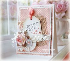 collage card in delicate pink and white..ribbon, burlap, paper flowers...