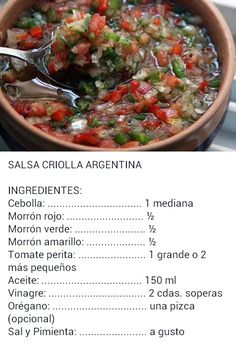 -This is a salsa made in Argentina. It is probably very spicy because of all the … This is a salsa made in Argentina. It is probably very spicy because of all the spices. Sauce Recipes, Gourmet Recipes, Mexican Food Recipes, Cooking Recipes, Healthy Recipes, Ethnic Recipes, Argentine Recipes, Argentina Food, Plat Vegan