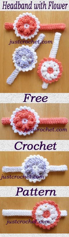 Free crochet pattern for baby headband with flower. #crochet