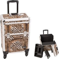 Leopard Pattern Interchangeable Professional Rolling Cosmetic Makeup Train Case * More info could be found at the image url.