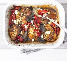 Roast up some chicken with North African spices and storecupboard peppers for a great last-minute supper, from BBC Good Food. Bbc Good Food Recipes, Cooking Recipes, Healthy Recipes, Gf Recipes, Cheese Recipes, Cooking Time, Healthy Meals, Healthy Food, Dinner Recipes