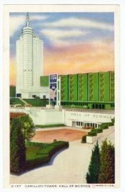 Carillon Tower, Hall of Science.  Chicago Postcard Museum - A Century of Progress - Color and Linen Postcards